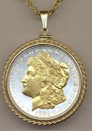 """Morgan Silver Dollar (1878 - 1921) Two Tone Rope Bezel U.S. Coin with 24"""" Chain"""
