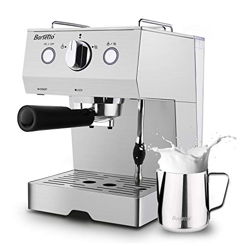 (Barsetto Espresso Machine With Milk Frother,Espresso Maker, Coffee Maker with milk steamer,1050W,15 Bar Pump,Stainless Steel)