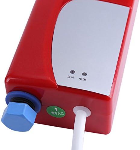 Hongzer Calentador de Agua Rojo Calentador de Agua Caliente instant/áneo sin Tanque el/éctrico de Acero Inoxidable para ba/ño Lavado de Cocina