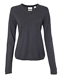Weatherproof W151363 Vintage Women S Cotton Cashmere V Neck Sweater Charcoal Heather L