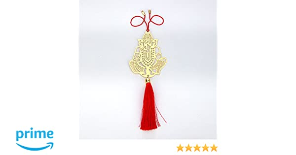 ADORAA Ganesha Ganpati Rear View Mirror Car Hanging Ornament//Perfect Car Charm Pendant//Amulet Accessories for Car D/écor in Brass for Divine Blessings /& Safety//Protection