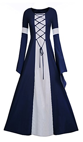 Meilidress Women Medieval Dress Lace Up Vintage Floor Length Cosplay Retro Long Dress (Medium, Navy Blue) for $<!--$41.98-->