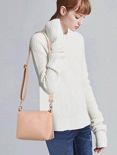 NICOLE&DORIS Mode Luxus Frauen 3 PCS Tote Handtasche Geldbörse Schultertasche Crossbody Tasche PU Leder Schwarz Rosa 7qyBaIYRO