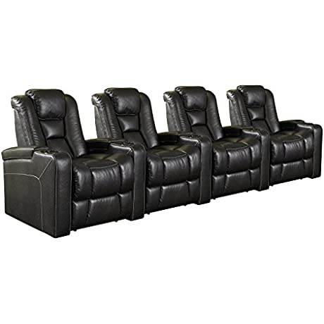 Row One RO8040 04H 121F Evolution Power 4 Chair Straight Row Black