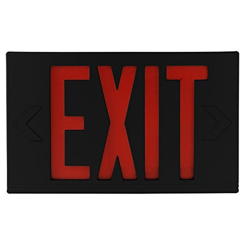 LED Exit Sign - Black Thermoplastic - Red Letters - 120/277 Volt and Battery Backup - Exitronix VEX-U-BP-WB-BL by Exitronix