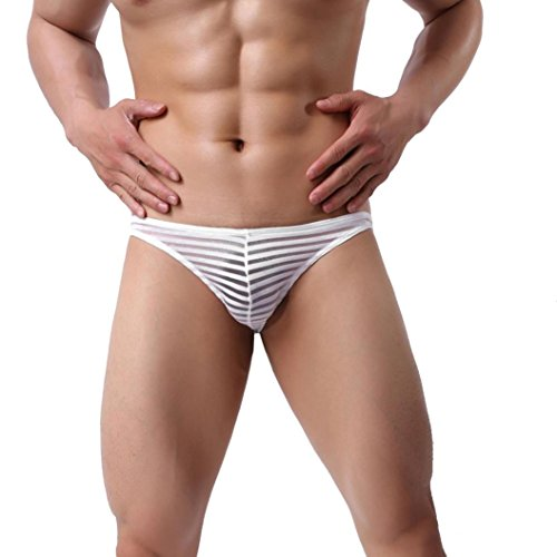 Snowfoller Sexy Men Brief Modern Fashion Striped Color Underpants Soft Comfort Shorts Mens Low Waist Boxers Briefs (XL, White) by Snowfoller (Image #1)