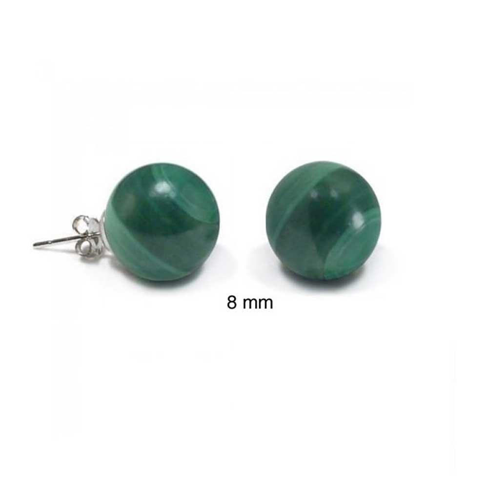 Malachite Ball Stud earrings 925 Sterling Silver 8mm