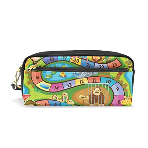 AMONKA Pencil Case Game Kids pencase Pen Holder Cosmetic Makeup Bag Women Durable Stationery Pouch Bag Large Capacity for School Kid Boys Children Teens Office Supplies Adult PU Leather Zippers