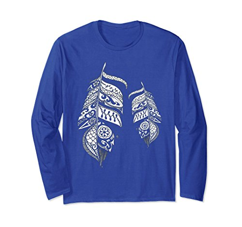 Feathers Adult T-shirt (Unisex Mandala Feather Pattern Long Sleeve T-shirt XL: Royal Blue)