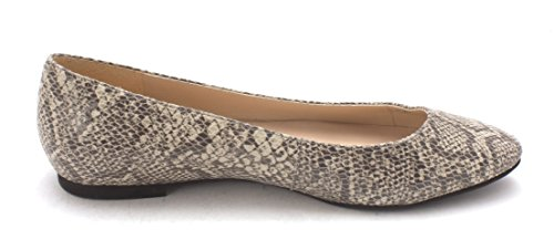 Cole Haan Womens Indrasam Pointed Toe Slide Flats, Stone/Snakeskin, Size 6.0 US/4 UK