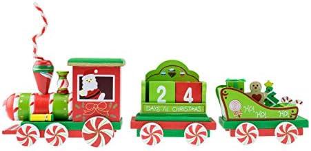 [해외]Clever Creations Train Candy Advent 캘린더 | 탈착식 큐브 다운일 | 페퍼민트 캔디 페인트 테마 트레인 | 완벽한 크리스마스 테마 | 12.7cm 높이의 스탠드는 선반 및 테이블에 완벽합니다. / Clever Creations Train Candy Advent Calendar | Remo...