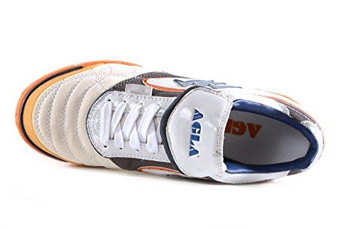 AGLA - Zapatillas de fútbol sala de Piel para hombre Media White/Orange