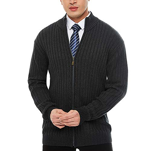 APRAW Men's Casual Slim Fit Sweaters with Zipper Cotton Knitted Cardigan Dark - Cardigan Front Zipper