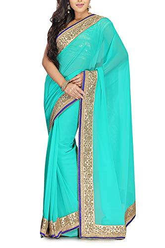 Ethnic Georgette Wear Saree Firozi Indian Vinhem Bemberg Fashion zYEqfwEB
