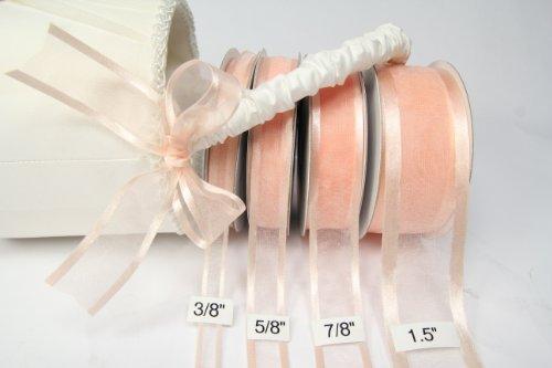 Ribbon Peach (Peach Organza Ribbon With Satin Edge-25 Yards X 3/8 Inches)