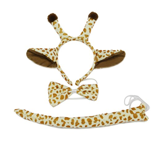 3D Animal Party Unisex Headband FOX PIG Giraffes Bow and Tail 3pc -