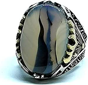 Men 's ring with natural agate stone