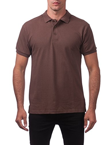 Pro Club Men's Pique Polo Cotton Short Sleeve Shirt, Brown, X-Large