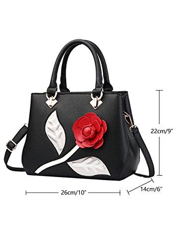 CUKKE Damen PU Handtaschen Damen Handtasche Schwarz Handtasche Schule Damen Handtaschen Rot-wien Schwarz