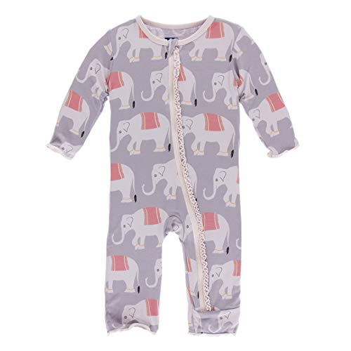 (Kickee Pants Little Girls Print Muffin Ruffle Coverall with Zipper - Feather Indian Elephant, 6-9 Months)
