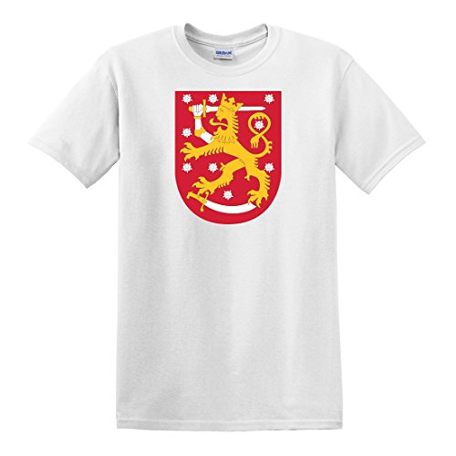 fagraphix Men's Finnish Coat of Arms T-Shirt X-Large White (Finnish Of Coat Arms)