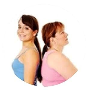 alfombrilla de ratón Mujer delgada feliz y mujer con sobrepeso infeliz espalda con espalda - ronda - 20cm