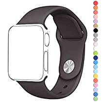 HuanlongTM New Soft Silicone Sport Style Replacement Iwatch Strap Band for Apple Wrist Watch Series 1 Series 2(Cocoa 42mm M/L)