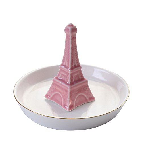 fang&jane Ceramic Jewelry Plate Dish Ring Holder Jewelry Organizer Golden Edged Home Decor (Pink Eiffel Tower) (Tower Ring Eiffel)
