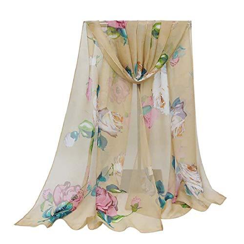 Print Silk Feeling Scarf Fashion Scarves Lightweight Shawl Scarf Sunscreen Shawls for Womens (Rose&G)