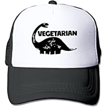 Black VEGETARIAN DINOSAUR VEGAN Unisex Baseball Hat Strapback Hats