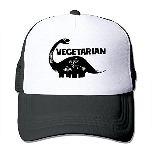 Black VEGETARIAN DINOSAUR VEGAN Unisex Baseball Hat Strapback
