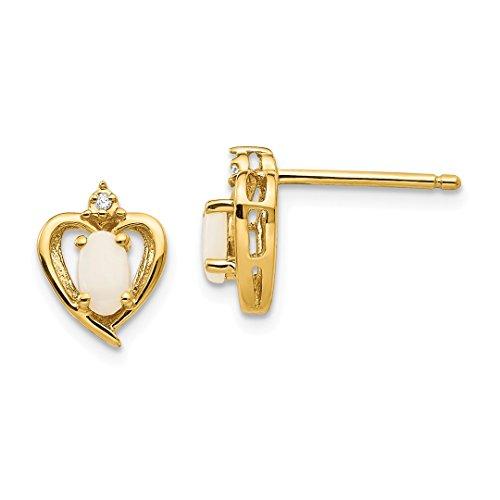 - 10k Yellow Gold Diamond Opal Post Stud Earrings Love Fine Jewelry For Women Gift Set