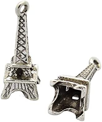 30Pcs Tibetan Silver Eiffel Tower Pendant Charms Necklace Jewelry Findings