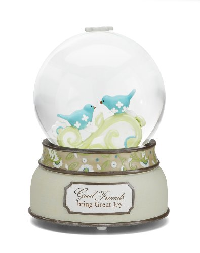 Pavilion Gift Company Perfectly Paisley Good Friends 100mm Musical Water Globe with Tune That's What Friends are for, Reads Good Friends Bring Great Joy, 6-Inches Tall
