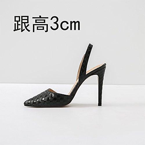 Vivioo Tacchi Alti Sandali Con Tacco Alto Sandali Baotou Estate Tacchi Alti Tacco Piccolo Nero 3cm