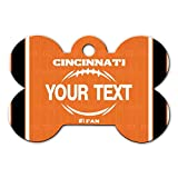 BRGiftShop Personalize Your Own Football Team Cincinnati Bone Shaped Metal Pet ID Tag with Contact Information