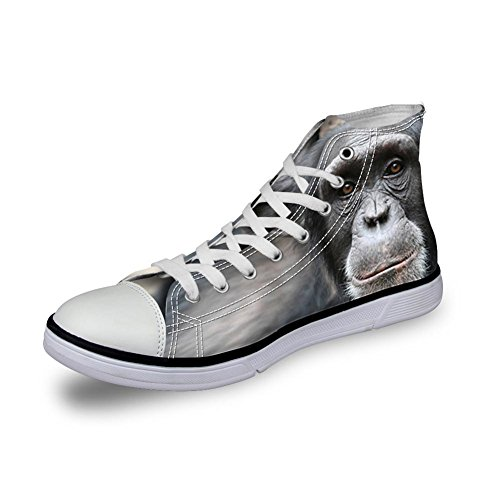 Para U Diseños Hombre Casual Top High Canvas Zapatos 3d Animales Zoo Impreso Pisos Sneakers Gorila