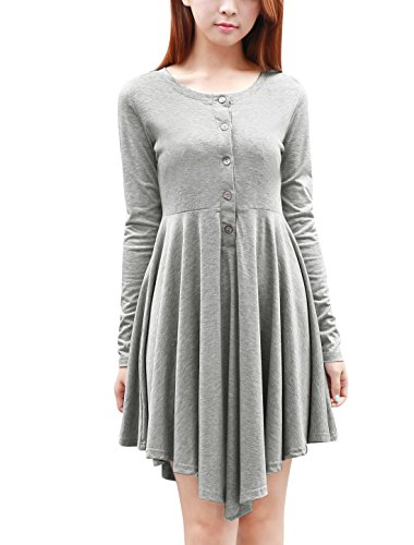 Allegra K Fall Winter Women's Long Sleeve High Low Short Tee Dress S Grey