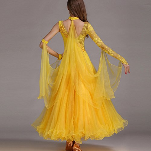 Di l Il Ballroom Tango Xl Dance Wqwlf Grande Costume Danza Swing Lunghe Maniche Abbigliamento Moderna Per Pizzo Asimmetriche 6 Valzer Donna Abiti OFwxFqP1