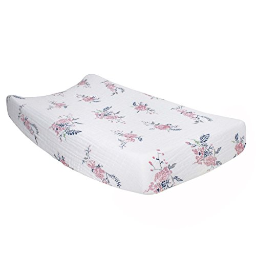 Bebe au Lait Classic Muslin Changing Pad Cover, 100% Cotton Muslin, One Size Fits Most - Garland