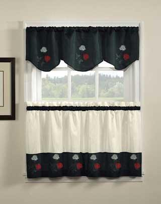 Rose Embroidered - 36 tier (pr) Kitchen Curtain - Black - Rose Pr