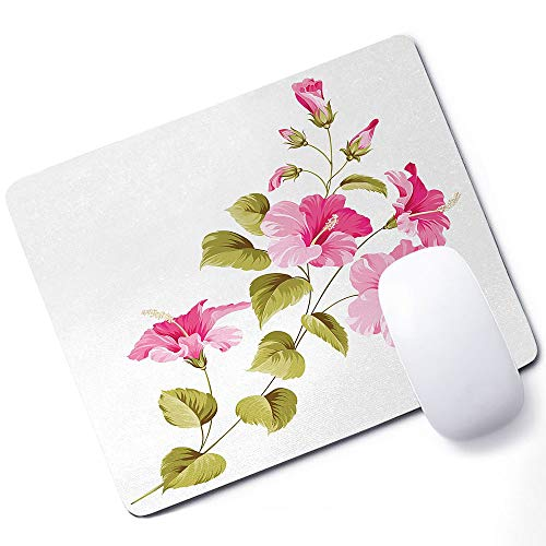 Flower Gaming Mouse pad Tropic Wild Hibiscus Flower Branch with Fresh Leaves Exotic Flora Concept Support Mouse pad Pink Green White 10x12 Inch (250mmX300mmX3mm)