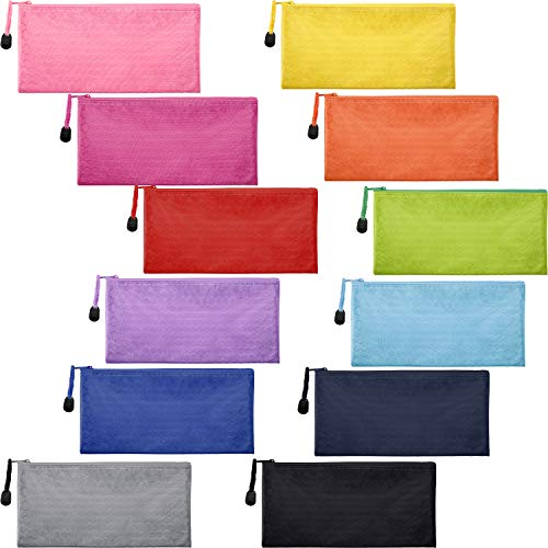 - Jovitec 12 Pieces 12 Colors Zipper Waterproof Bag Pencil Pouch for Cosmetic Makeup Office Supplies and Travel Accessories