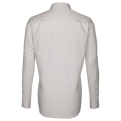 Seidensticker Herren Langarm Hemd Splendesto Regular Fit beige / braun strukturiert mit Patch 187706.23