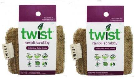 2 Hemp Sponge NATURAL Sponges SCRUB Brillo Twist Kitchen Wash Pad Organic Cleaning Dishes