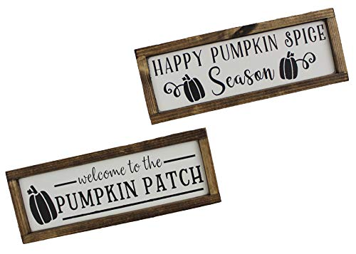 Handmade Farmhouse Style Framed Wood Pumpkin Signs, Individual or Set of 2 -