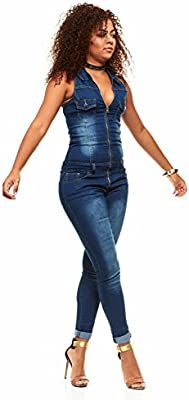 V.I.P JEANS Womens Slim Fit Sleeveless Denim Romper Shorts Zip Up