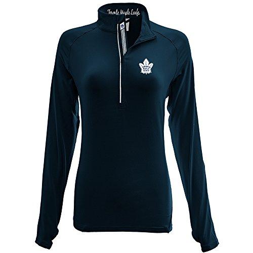 (Levelwear LEY9R NHL Toronto Maple Leafs Adult Women Energy Banner Stripe Half Zip Mid-Layer, Medium, Navy)