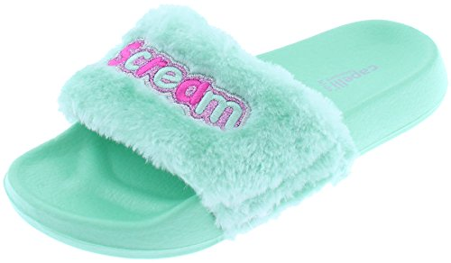 Capelli New York Girls Faux Fur Slides with I Scream Appliques and Embroidery Mint (Furry Slip Ons)