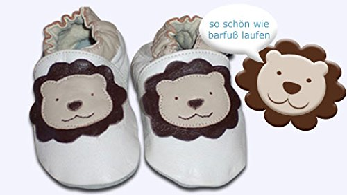 BabysLove Gr. L Krabbelschuhe Löwe Babyschuhe Baby Krabbelpuschen Lauflernschuhe Leder